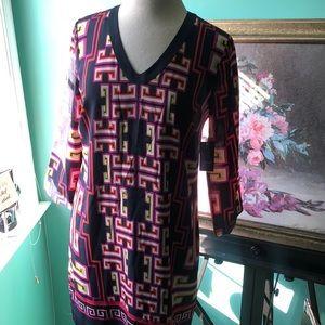 NWT crown & Ivy v-neck geo Print Lined Dress Sz 6